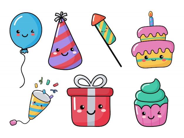Set di icone carino compleanno divertenti. festa elementi festosi di carnevale stile kawaii. isolato
