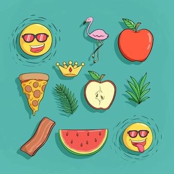 Set di icone carino estate con fenicottero, pizza, anguria e fumetto del sole