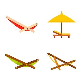 Set di icone chaise. insieme piano della raccolta delle icone di vettore di chaise isolata