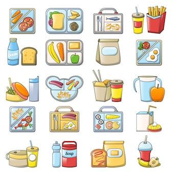Set di icone cibo pranzo pausa pranzo