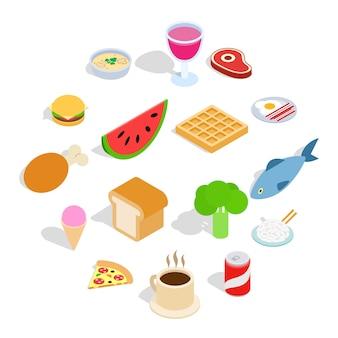 Set di icone cibo, stile isometrico