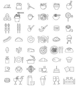 Set di icone cibo vettoriale