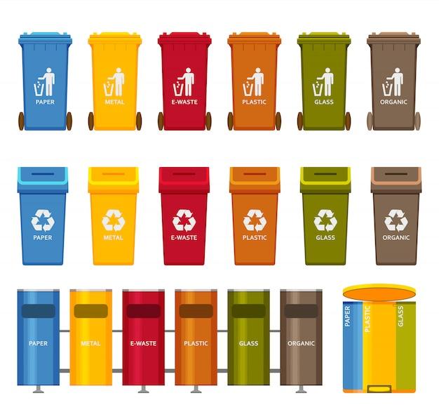 Set di icone colorate di contenitori della spazzatura. illustrazione