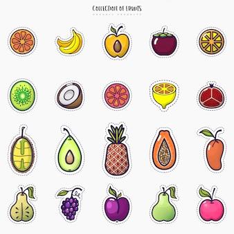 Set di icone colorate di frutta isolato