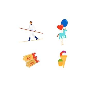 Set di icone colorate piatte di vettore del circo