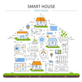 Set di icone colorate piatto smart house
