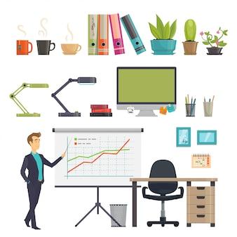 Set di icone colorate sul posto di lavoro di affari