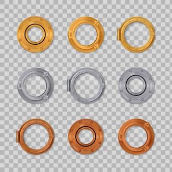 Set di icone colorate trasparenti realistiche a oblò in oro argento e bronzo a forma rotonda