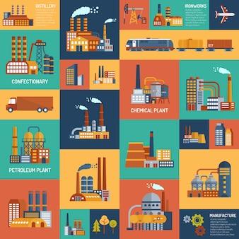 Set di icone con diversi tipi di imprese industriali