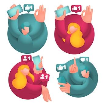 Set di icone con personaggi dei cartoni animati maschili e femminili