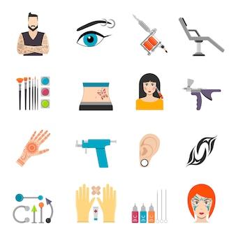 Set di icone con piercing tatuaggio bodyart e attrezzature speciali