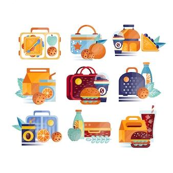 Set di icone con scatole per il pranzo e borse con cibo e bevande. hamburger, panini, biscotti, succo di frutta, caffè, frutta. concetto di pranzo o colazione.