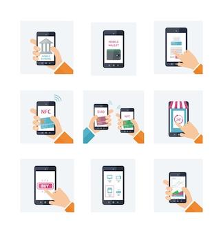 Set di icone con tecnologia mobile, shopping online, portafoglio web, nfc, concetti bancari in linea.