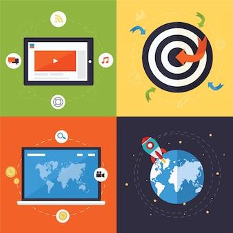 Set di icone concetto di design piatto