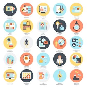 Set di icone concettuali piatte di gestione aziendale, leadership e manager aziendale.