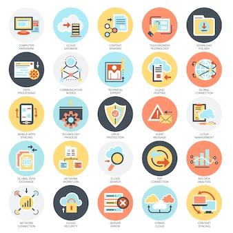 Set di icone concettuali piatto di servizi di tecnologia dati cloud, connessione globale.