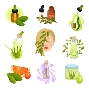 Set di icone cosmetiche naturali. bottiglie di olii essenziali, vasetto di lozione. prodotti biologici per la cura della pelle