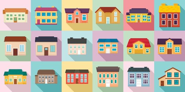 Set di icone cottage, stile piano