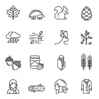 Set di icone d'autunno