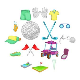 Set di icone da golf, stile cartoon