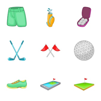 Set di icone da golf, stile cartoon