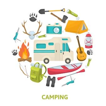 Set di icone decorative di campeggio turistico