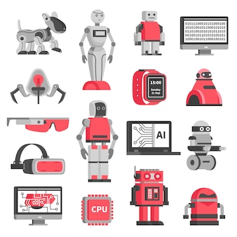 Set di icone decorative di intelligenza artificiale