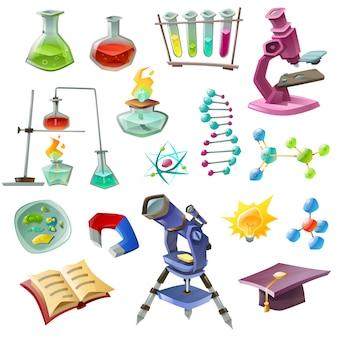 Set di icone decorative di scienza