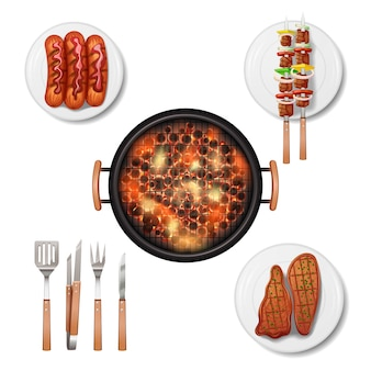 Set di icone decorative griglia barbecue