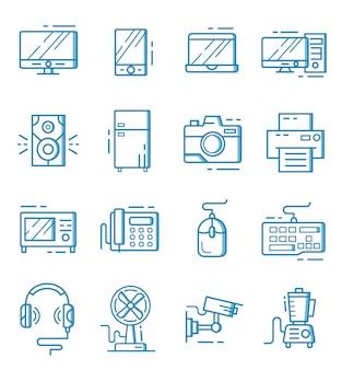 Set di icone degli apparecchi elettronici con stile contorno
