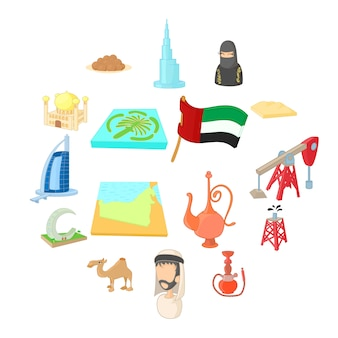 Set di icone degli emirati arabi uniti, stile cartoon