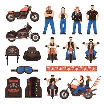 Set di icone dei cartoni animati piatto di motociclisti
