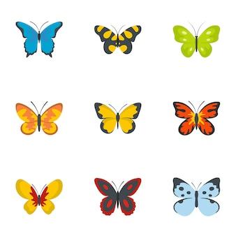 Set di icone del baco da seta, stile piano