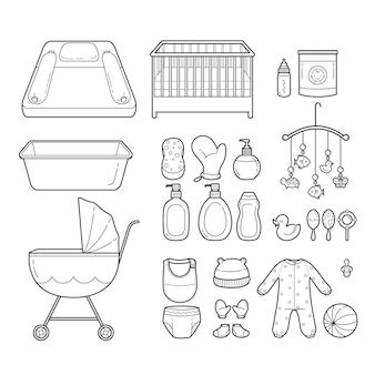 Set di icone del bambino, icone di contorno, attrezzature per neonati