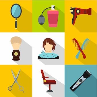 Set di icone del barbiere, stile piano