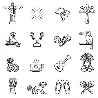 Set di icone del brasile. calcio stile linea sottile