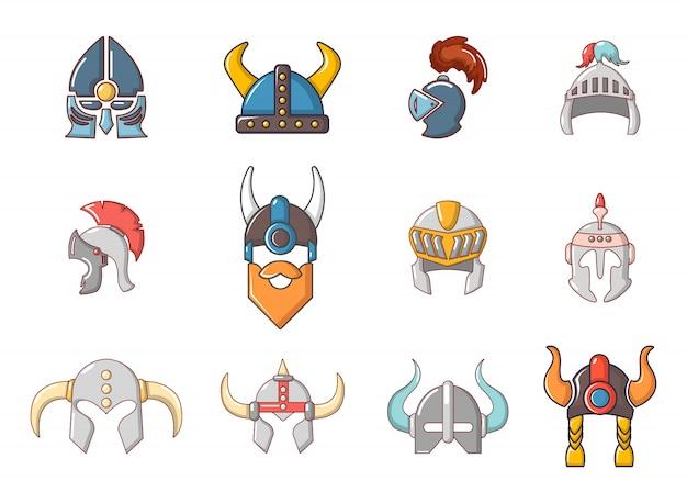 Set di icone del casco di guerra. l'insieme del fumetto delle icone di vettore del casco di guerra ha messo isolato