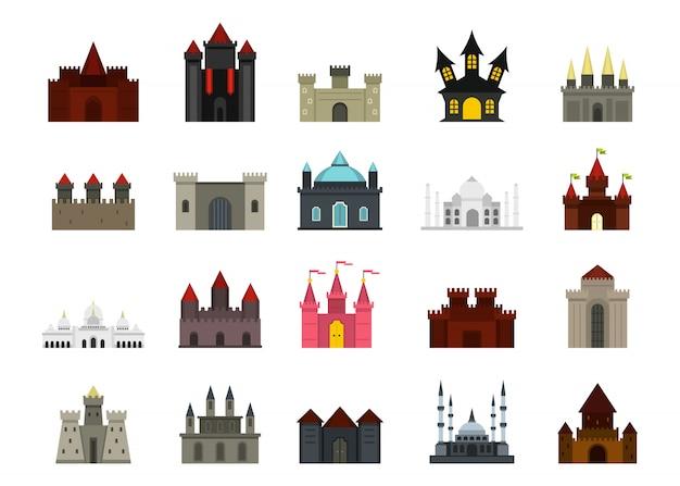 Set di icone del castello. insieme piano della raccolta delle icone di vettore del castello isolato