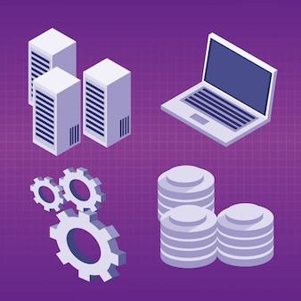 Set di icone del centro dati