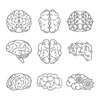 Set di icone del cervello di memoria. delineare un set di icone di memoria cervello vettoriale
