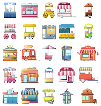 Set di icone del chiosco di cibo di strada