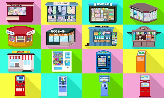 Set di icone del chiosco. set piatto di vettore del chiosco