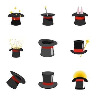 Set di icone del cilindro. set piatto di icone 9 cilindri