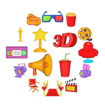 Set di icone del cinema, stile cartoon