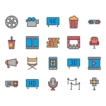 Set di icone del cinema.