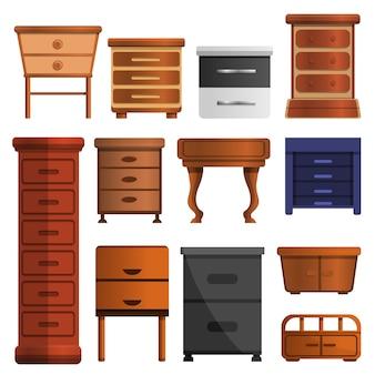 Set di icone del comodino in legno. insieme del fumetto delle icone di vettore del comodino di legno per il web design