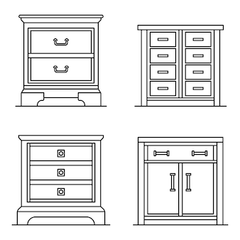 Set di icone del comodino. insieme del profilo delle icone di vettore del comodino