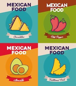 Set di icone del concetto di cibo messicano