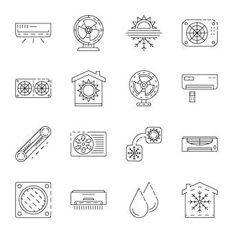 Set di icone del condizionatore. insieme del profilo delle icone di vettore del condizionatore