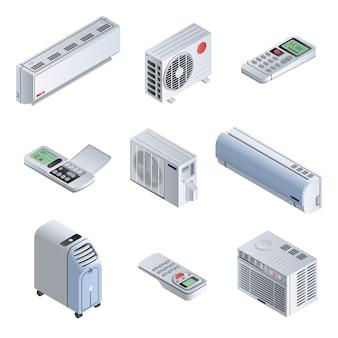 Set di icone del condizionatore. insieme isometrico delle icone di vettore del condizionatore per il web design isolato